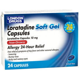 London Drugs Loratadine 10mg Non-Drowsy 24 Hour Allergy Remedy Soft Gel Capsules - 24's