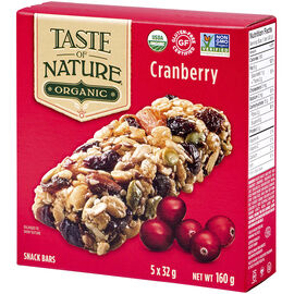 Taste of Nature Organic Food Bar - Quebec Cranberry Carnival - 5x32g