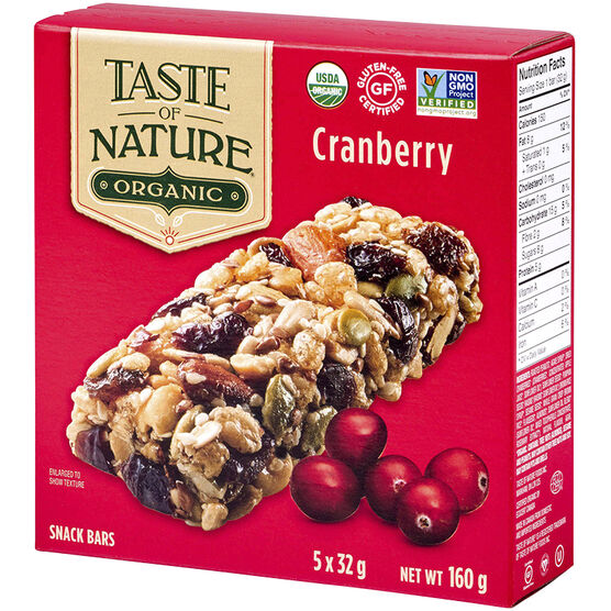 Taste of nature organic food bar quebec cranberry for Organic food bar