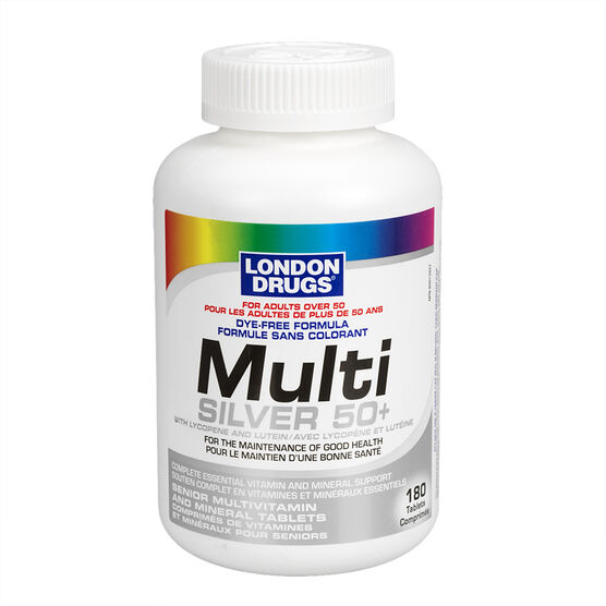 London Drugs Multi Silver 50 Plus Dye Free Formula - 180's
