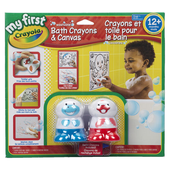 Crayola My First Washable Bath Crayons & Canvas - Assorted