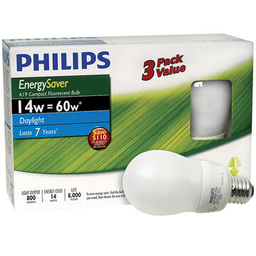 Philips Energy Saver A19 Compact Fluorescent Bulb - Daylight