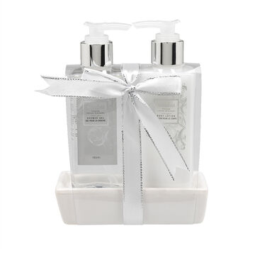 Bloomfield Hand Soap Dish Gift Set - Frosted Cotton Blossom - 2 piece