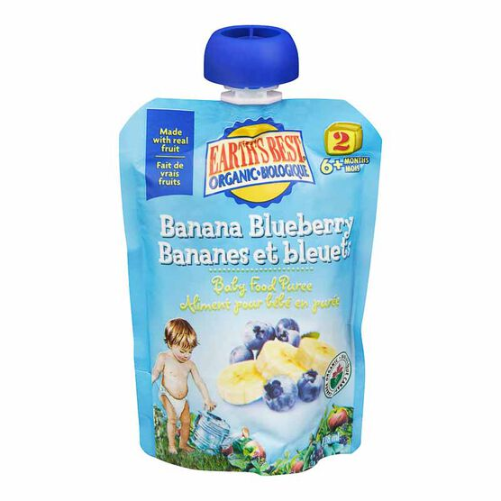 Earth's Best Infant Puree Pouch - Banana and Blueberry - 128 ml
