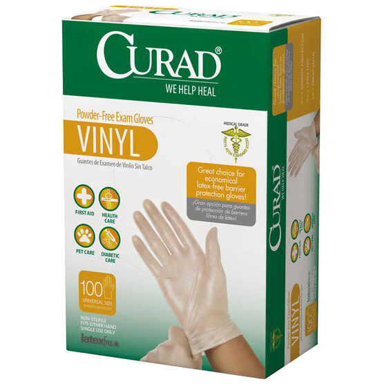 Curad Powder Free Vinyl Gloves - 100's