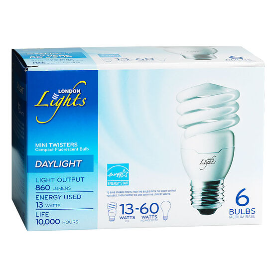 London Lights Mini Twisters CFL Bulb - Daylight - 6 pack