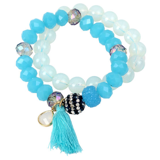 Haskell Two Piece Beaded Stretch Bracelet Set - Blue/Tonal