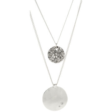 Kenneth Cole Two Row Disc Necklace - Silver Tone