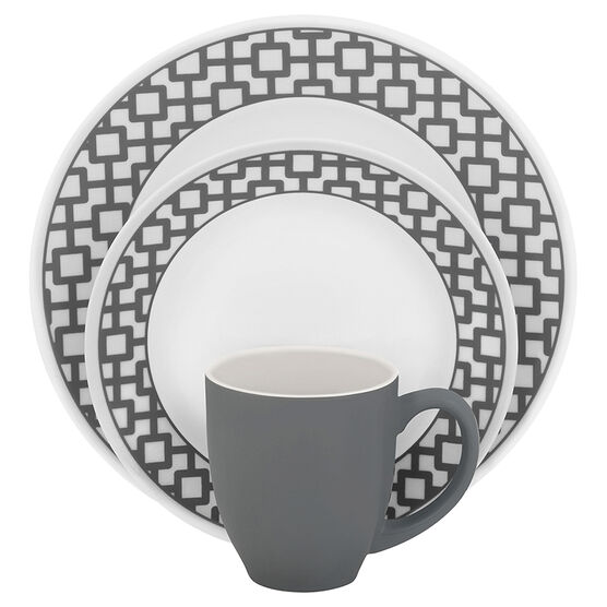 Corelle Imperial Urban Grid Dinnerware Set - White - 16 piece