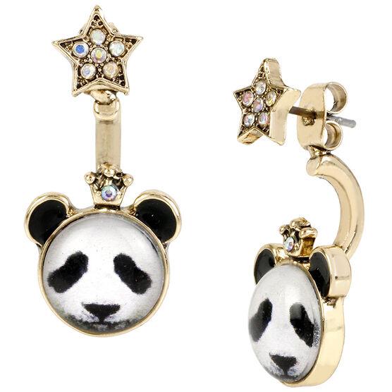 Betsey Johnson Costume Critters Panda Star Front Back Earrings - Black/White