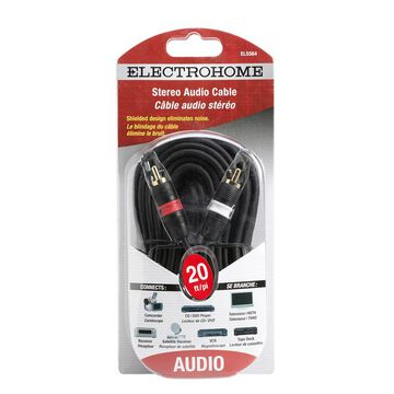 Electrohome 20-ft Shielded Stereo Cable 2 RCA to 2 RCA - ELS564
