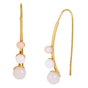 Haskell Stone Threader Earrings - White/Gold