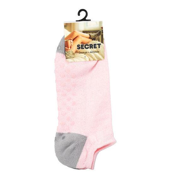 Secret Heel Toe Ladies Low Cut Sock - Pink Grey