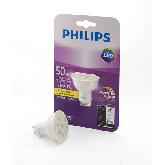 Philips GU10 LED Light Bulb - Warm - 5w/50w