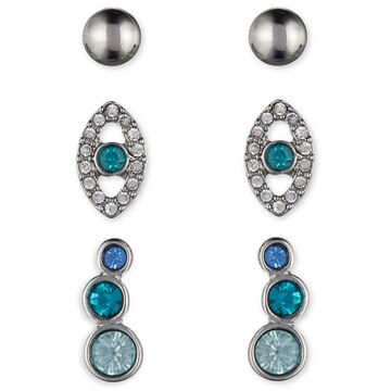 Lonna & Lilly Evil Eye Stud Earrings Trio - Silver Tone