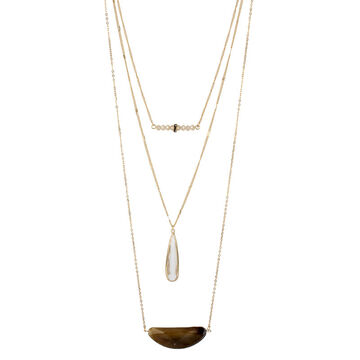 Haskell Three Row Necklace - Neutral/Gold