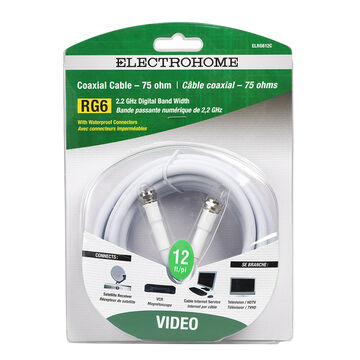 Electrohome 12-ft Coaxial Connector - ELRG612C - White