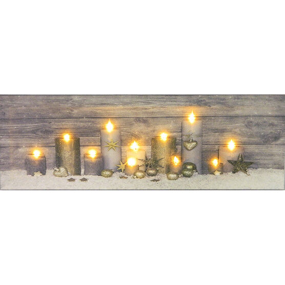 Christmas Forever Canvas with LEDs - 8in x 24in - XM-JD1040DSP - Assorted