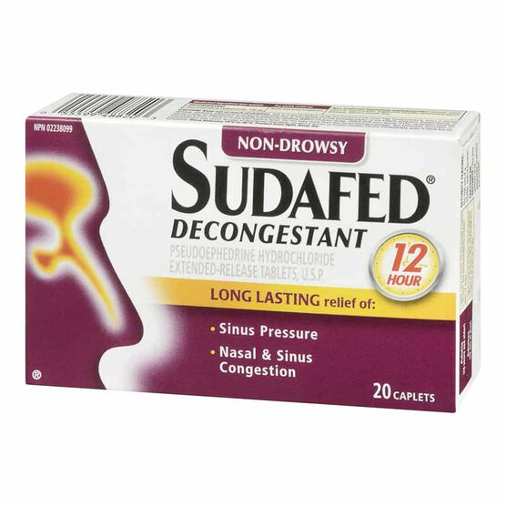 Sudafed 12 Hour Decongestant - Non-Drowsy - 20's
