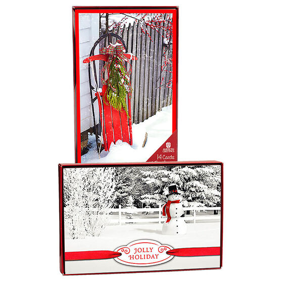 American Greetings Christmas Cards - Snow Scene - 14 count - Assorted