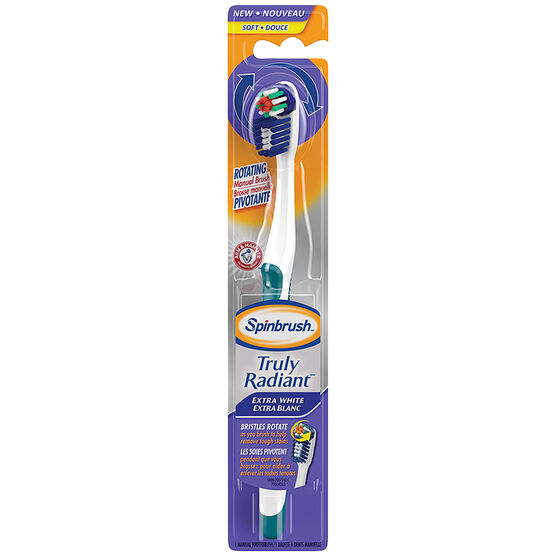 Spinbrush Truly Radiant Rotating Manual Toothbrush Extra White - Soft