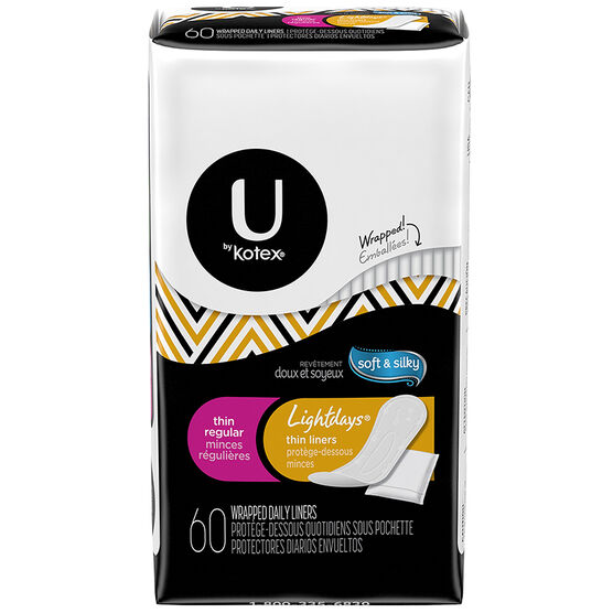 U By Kotex Lightdays Thin Liners - Regular - 60's