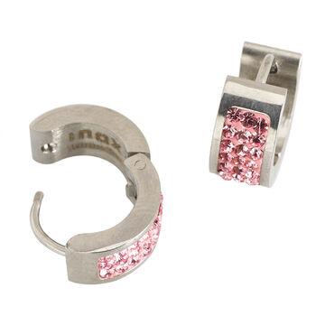 Inox Steel Pink Huggie Earrings