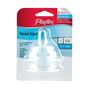 Playtex VentAire Nipple - Slow - Wide - 2's