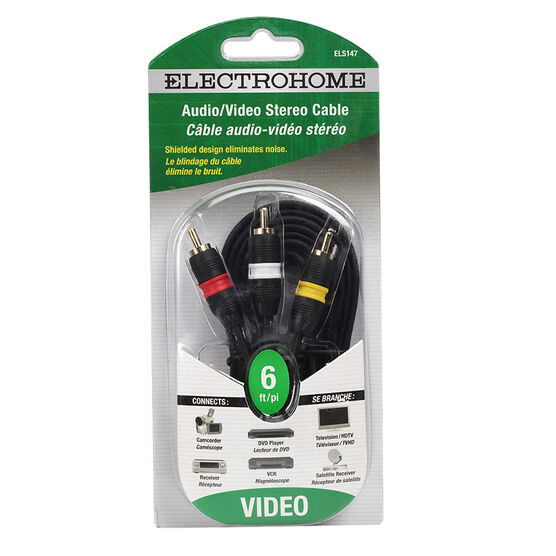 Electrohome 6-ft Stereo Audio Video Cable - 3 RCA to 3 RCA - ELS147