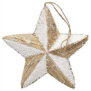Winter Wishes Burlap Star Ornament