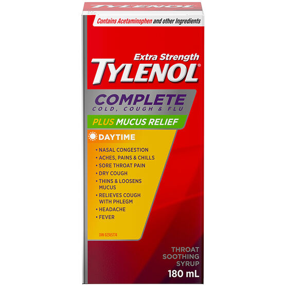 Tylenol* Complete Cough, Cold & Flu Plus Mucus Relief - 180ml / Extra Strength