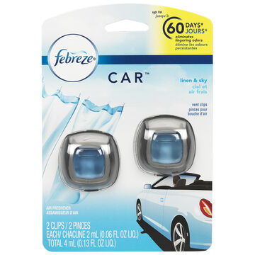 Febreze Auto Air Freshener - Linen Sky - 2 pack/4ml