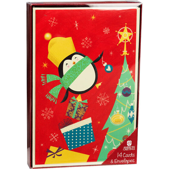 Deluxe Merry & Bright Christmas Cards - Assorted - 14 pack