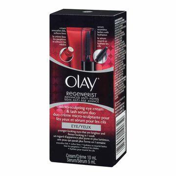 Olay Regenerist Advanced Anti-Aging Micro-Sculpting Eye Cream & Lash Serum Duo - 10ml/5ml