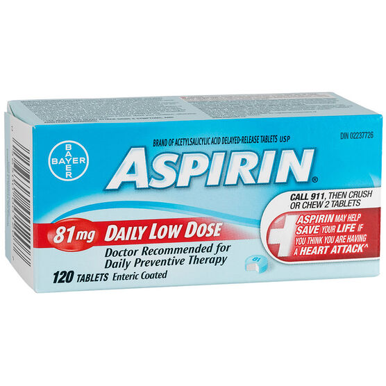 Coated ASPIRIN Daily Low Dose - 81mg - 120's