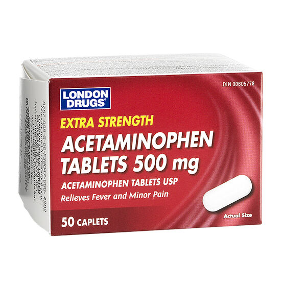 London Drugs Acetaminophen Caplets- 500mg - 50's