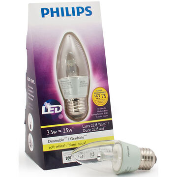 Philips LED 3.5W B12 Chandelier Bulb - Soft White