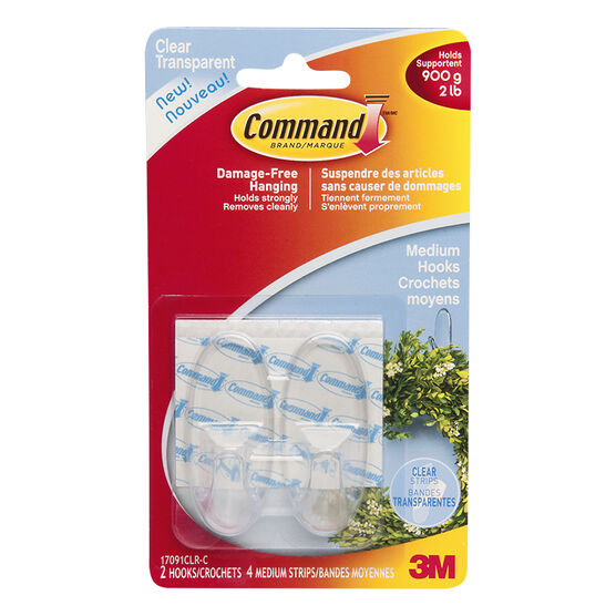 3M Command Hooks - Clear - Medium/2pk