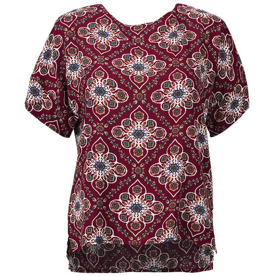 Lava Short Sleeve Printed Blouse - Burgundy - Assorted