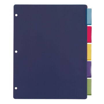Cardinal Poly 5 Tab Index Dividers - 9 x 12inch