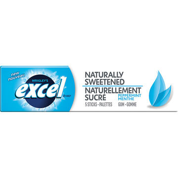 Excel Naturally Sweetened Gum - Peppermint - 5 piece