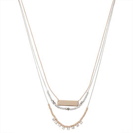 Kenneth Cole Triple Chain Necklace - Blue/Crystal/White