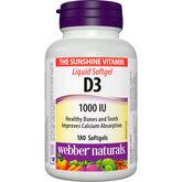 Webber Naturals Vitamin D3 1000IU Soft Gels - 180's