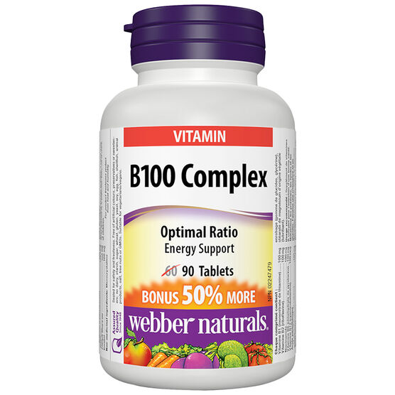 Webber Natural's Vitamin B100 Complex Tablets - 60's