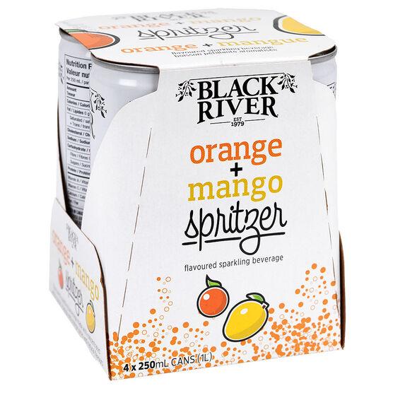 Black River Fruit Juice Spritzer - Orange Mango - 4 x 250ml