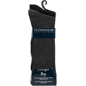 Florsheim Men's Casual Crew Socks - Black/Grey - 2 pair