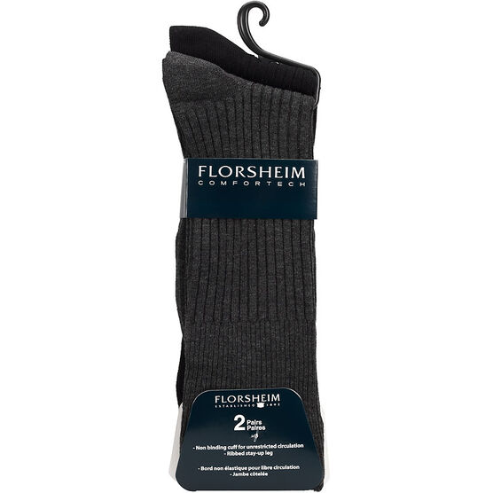 Florsheim Men's Casual Crew Socks - Black/Grey - 2 pair