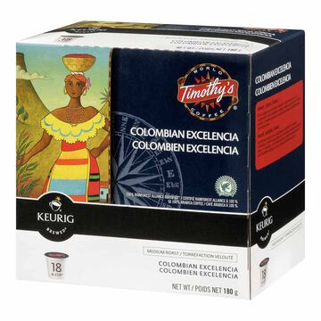 Keurig K-Cup Timothy's Coffee Pods - Columbian La Vereda - 18's