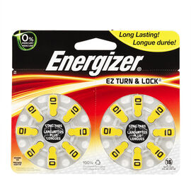 Energizer Lock & Turn Hearing Aid Battery - AZ10DP-16 - 16 pack