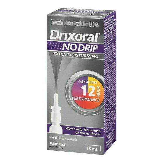 Drixoral No Drip Extra Moisturizing Nasal Decongestant - 15ml